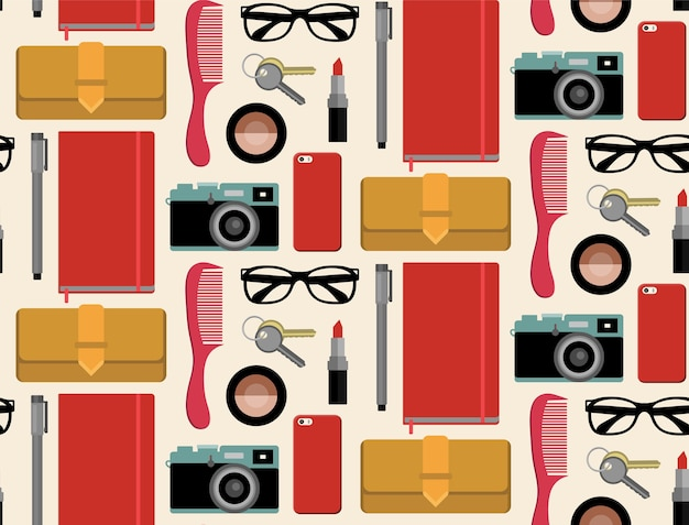 Seamlss pattern of content of hipsters bag with comb,notepad,mobile phone,camera,glasses etc.