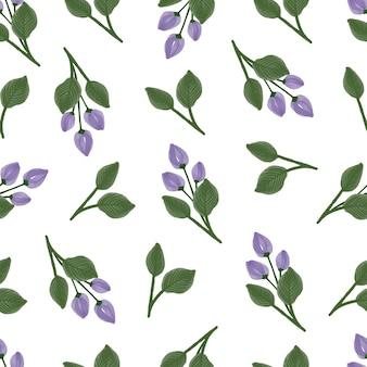テキスタイルと背景のデザインのための紫色のつぼみと緑の葉の縫い目のないパターン