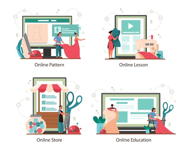 仕立て屋または異なるデバイスコンセプトセットのオンラインサービスまたはプラットフォームを調整します。プロのマスターソーイング服。創造的なアトリエの職業。
