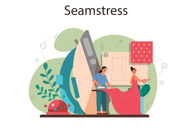 Seamstress or tailor concept. professional master sewing clothes. dressmaker working on knitting machine, ironing and taking measurements. creative atelier profession. vector illustration