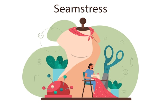 Seamstress or tailor concept. professional master sewing clothes.