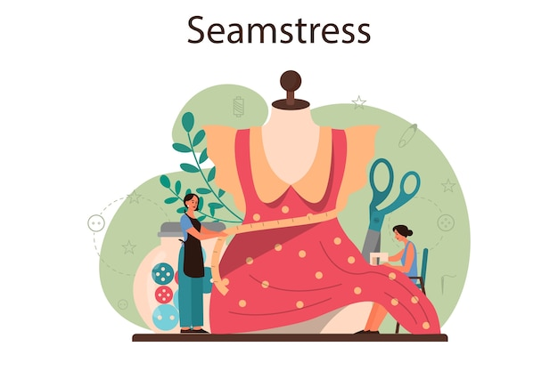 Seamstress or tailor concept