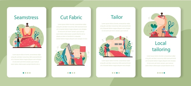 Seamstress or tailor mobile application banner set. professional master sewing clothes. creative atelier profession.