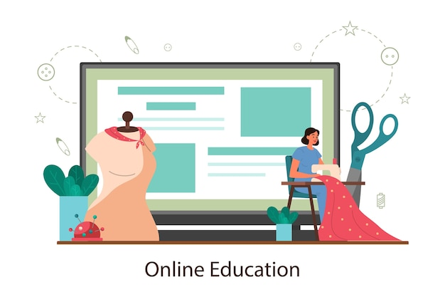 Seamstress or tailor online education platform. professional master sewing clothes. creative atelier profession. vector illustration