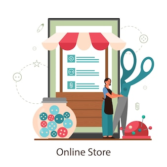 Seamstress or tailor online shop. professional master sewing clothes.