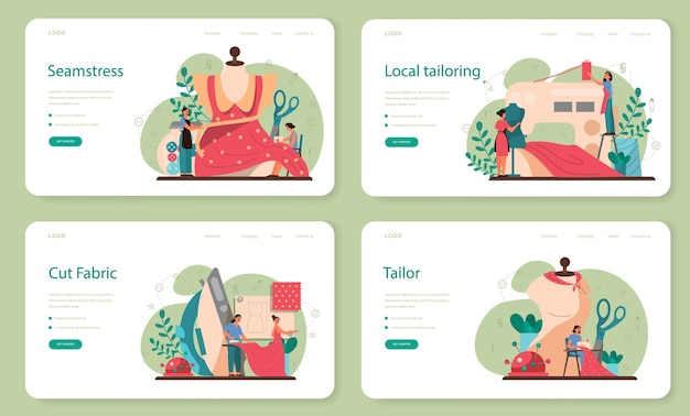 Seamstress or tailor web banner or landing page set. professional master sewing clothes. creative atelier profession.