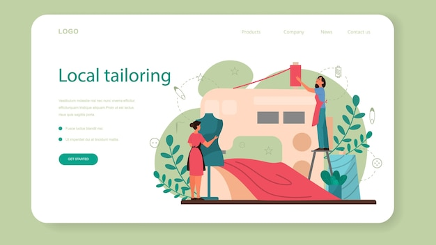 Seamstress or tailor web banner or landing page