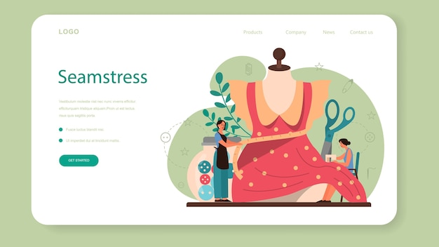 Seamstress or tailor web landing page. professional master sewing clothes. creative atelier profession. vector illustration