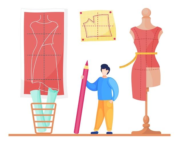 Seamstress with pencil look at pattern of future dress at wall