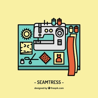 Seamtress workplace design Free Vector