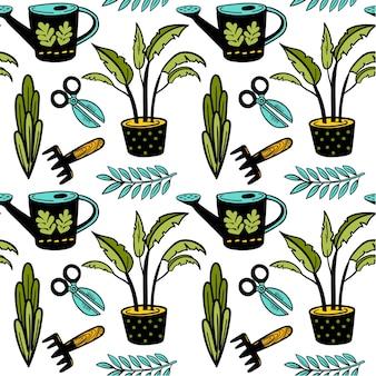 鉢植えの植物はさみじょうろとショーンレスベクトルガーデンパターン落書き背景