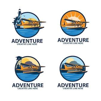 Seaplane adventure logo set