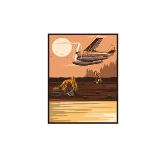 Seaplane and the excavator