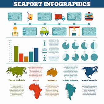Seaport infographics set