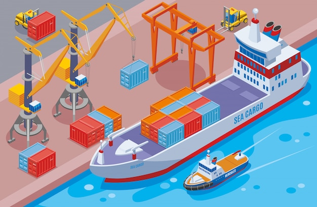 Seaport isometric and colored composition with big sea cargo ship at the seaport  illustration