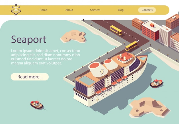 Seaport isometric text banner with ocean liner