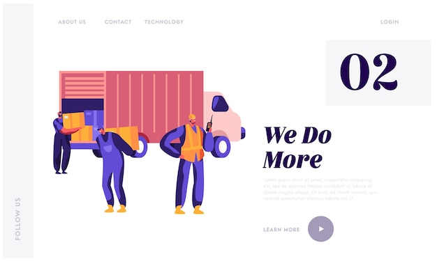 Seaport workers carry boxes from truck in dock landing page template