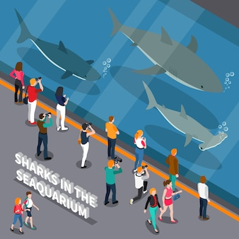 Seaquarium isometric composition