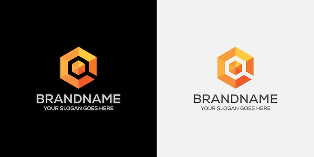 Search abstract orange cube logo