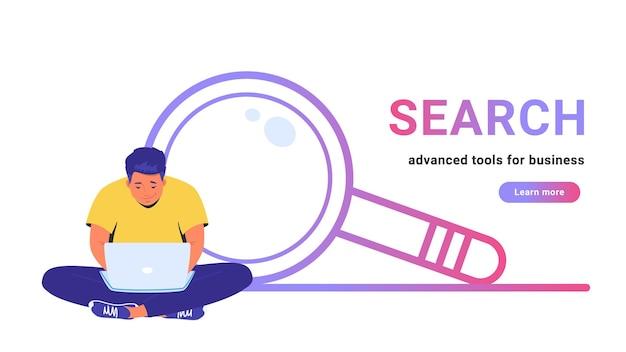 検索-ビジネス向けの高度なツール。ラップトップと蓮のポーズで一人で座ってオンラインで作業しているかわいい男のフラットラインベクトルイラスト。白い背景の上のシンプルな拡大鏡の輪郭を描かれたアイコン