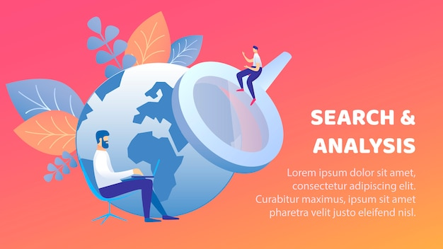 Search and analysis flat banner vector template