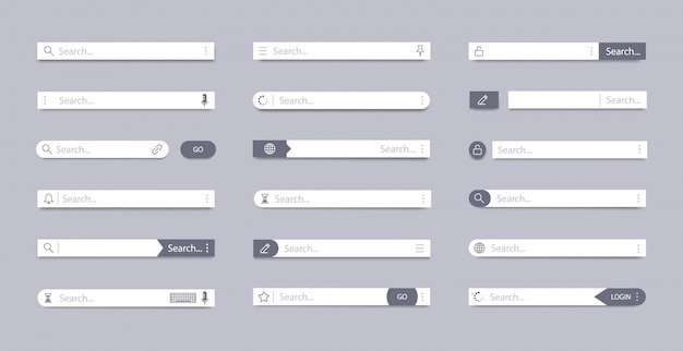 Search bar. address search field, interface bar ui navigation, web concept with tab text boxes, mobile bar page elements  symbols set. internet browser ui searching panels template