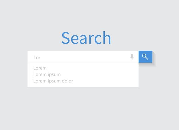 웹사이트에 대한 검색 표시줄의 검색 표시줄 디자인 요소 집합