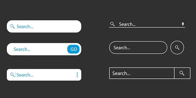 Значок панели поиска для веб-сайта, приложения, пользовательского интерфейса. окна панели поиска. установить символ панели поиска www