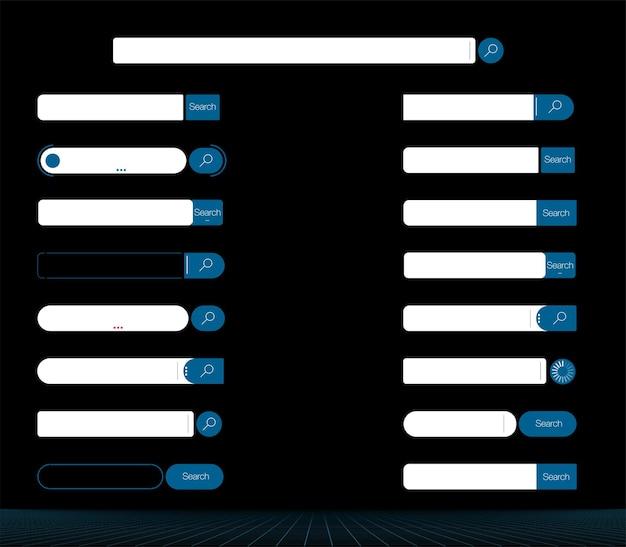 Панель поиска. набор векторных элементов панели поиска, набор шаблонов пользовательского интерфейса окон поиска, изолированные на сером фоне