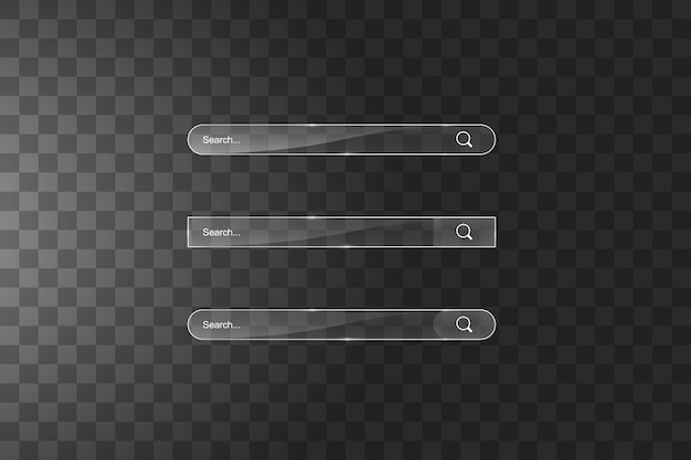 Search bar template vector web search illustration transparent glass search bar