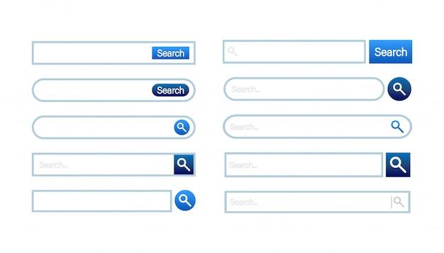 検索バーテンプレート。青い要素を持つ白い色。クラシックでラウンドなシンプルなデザイン。