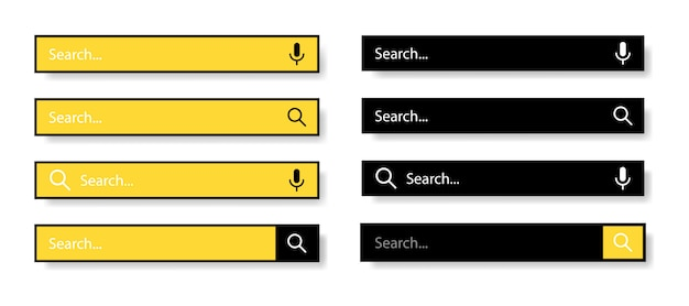 Search bar for user interface and website. black and yellow icons on a white background. modern selection of the search bar.  illustration.