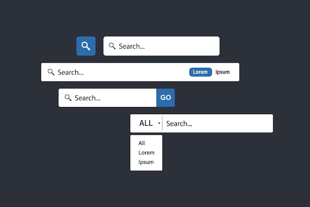 Search bar vector element design. set of search boxes ui template. web search bars. form for internet or web site. www icon. web site sign. collection of search form templates for websites