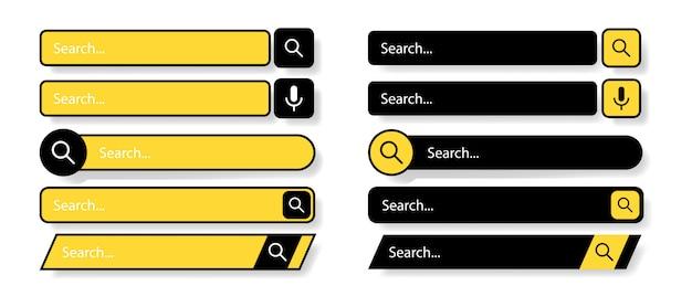 검색 창. 플랫 웹 디자인 요소입니다. 웹 사이트를위한 템플릿. 흰색 배경에 검정색과 노란색 아이콘입니다. 검색 창의 현대적인 선택. 삽화. 프리미엄 벡터