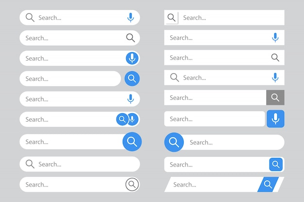 Search bars templates set with pop up list or search results.
