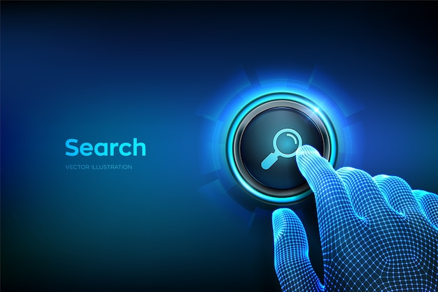 検索ボタン。検索アイコンのボタンを押しようとしているクローズアップの指。ブラウジングインターネットデータ情報ネットワーキングの概念を検索します。ボタンを押すだけ。ベクトルイラスト。