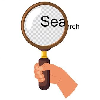 白い背景で隔離の手に置かれた虫眼鏡で漫画フラットアイコンを検索します。