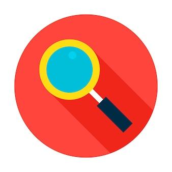 検索サークルアイコン。長い影のベクトルイラストフラットスタイルアイテム。
