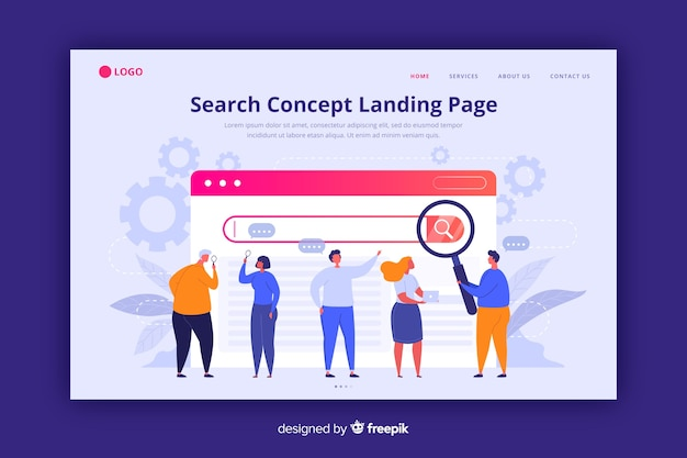 Search concept landing page flat style