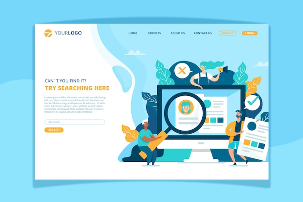 Search concept landing page template