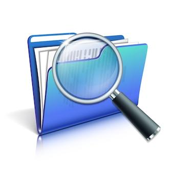 Поиск концепции с увеличительным стеклом над синей папке на белом фоне. иллюстрация