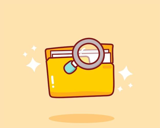 Concetto di ricerca cartella gialla e icone lente di ingrandimento illustrazione disegnata a mano di arte del fumetto