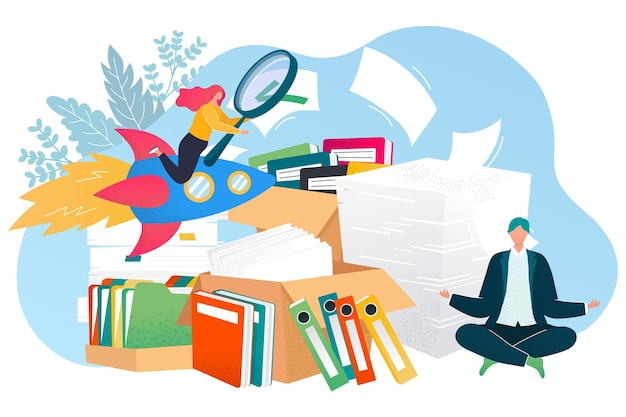 Search document concept vector illustration archive management design tiny flat man worker character...