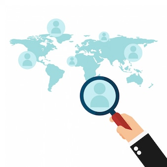 Search employee hand holding magnifier glass