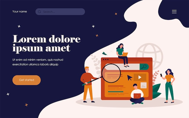 Search engine answering users questions. people using laptops and phones for online query. flat vector illustration for advertising, seo work, website promotion concept