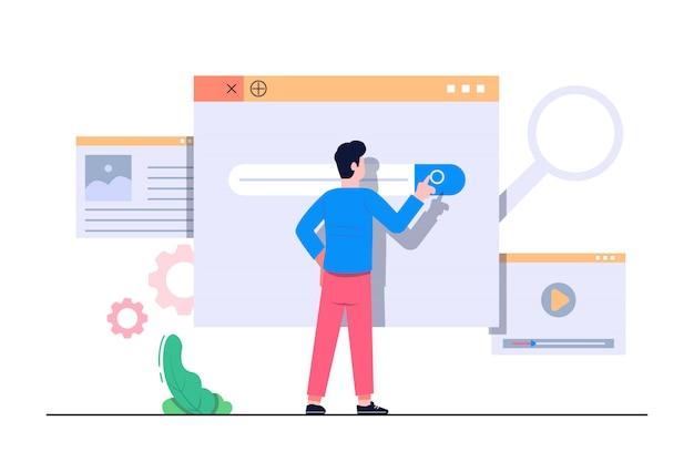 Search engine concept flat illustration