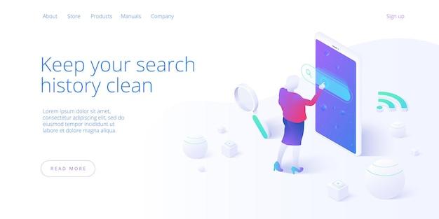 아이소 메트릭 검색 엔진 개념입니다. 스마트 폰에서 모바일 인터넷을 검색하는 여성. seo 또는 글로벌 웹 사이트 브라우저 액세스. 웹 배너 레이아웃 템플릿입니다.