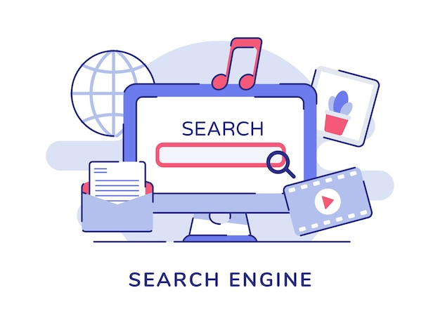 컴퓨터 화면 및 관련 개체가있는 검색 엔진 개념
