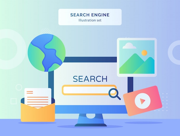 Search engine illustration set monitor computer background of picture globe mail video with flat style.