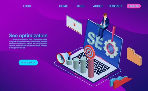 Search engine isometric landing page template